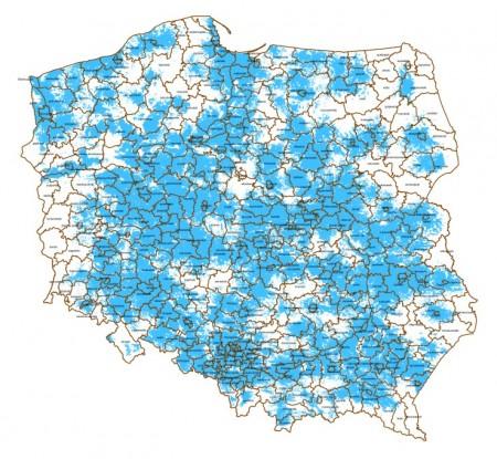 Mapa zasięgu darmowego internetu Aero2